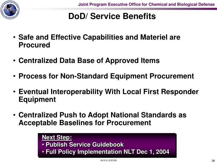 DoD/ Service Benefits