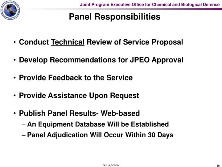 Panel Responsibilities