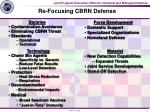 re focusing cbrn defense
