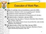 execution of work plan