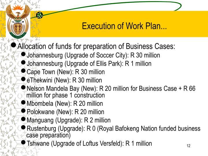 Execution of Work Plan...