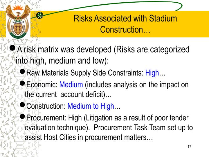 Risks Associated with Stadium Construction…