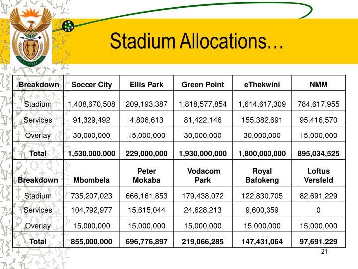 Stadium Allocations…