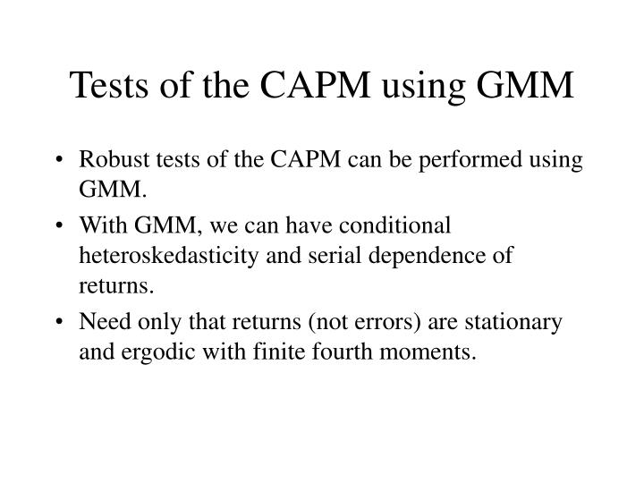 Tests of the CAPM using GMM