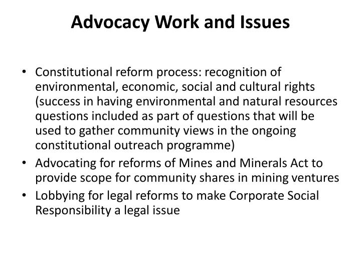 Advocacy Work and Issues