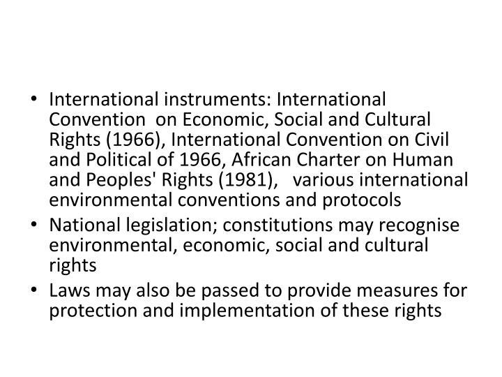 International instruments: International