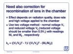 need also correction for recombination of ions in the chamber