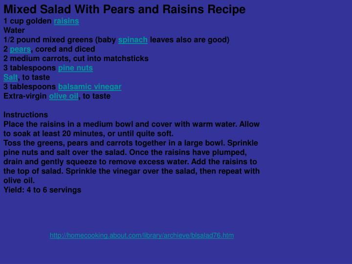 Mixed Salad With Pears and Raisins Recipe