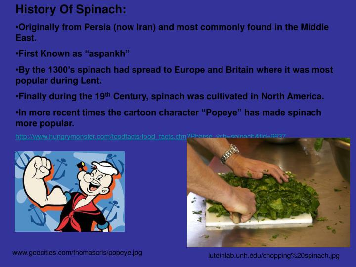 History Of Spinach: