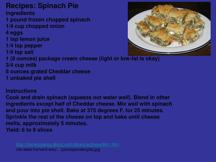 Recipes: Spinach Pie