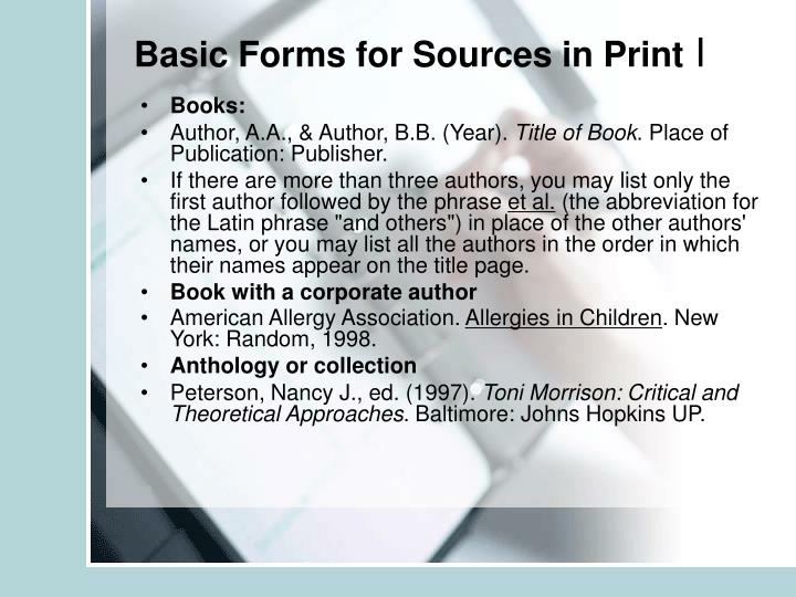 Basic Forms for Sources in Print