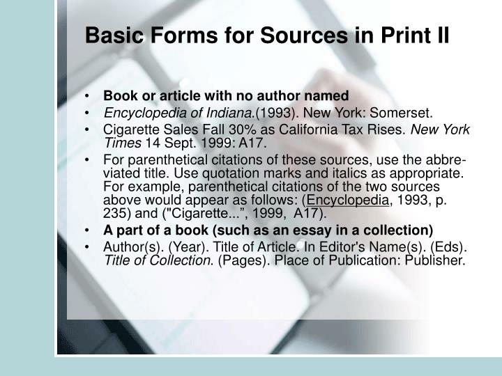 Basic Forms for Sources in Print II