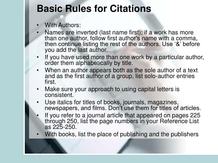 Basic Rules for Citations