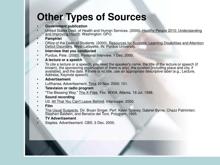 Other Types of Sources