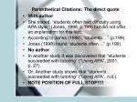 parenthetical citations the direct quote