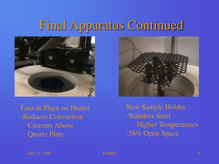 Final Apparatus Continued
