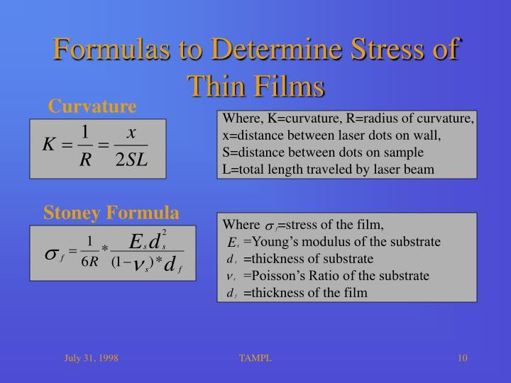 Formulas to Determine Stress of Thin Films