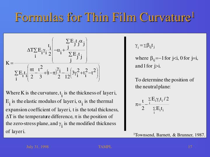 Formulas for Thin Film Curvature