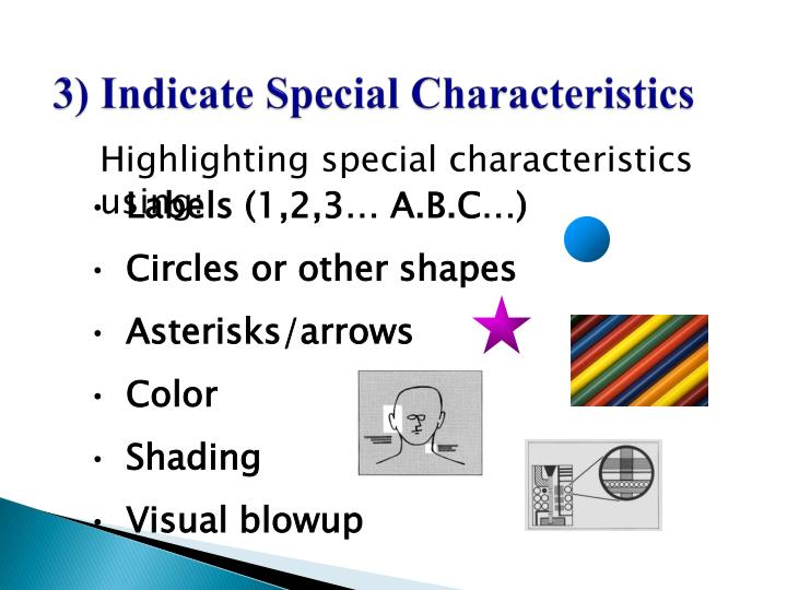 3) Indicate Special Characteristics