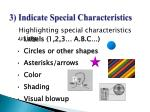 3 indicate special characteristics