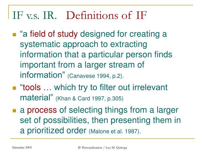 IF v.s. IR.