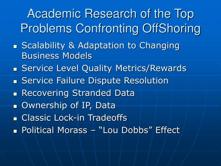 Academic Research of the Top Problems Confronting OffShoring
