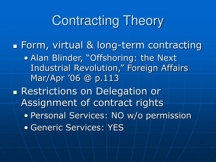 Contracting Theory
