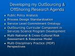 developing my outsourcing offshoring research agenda