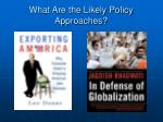 what are the likely policy approaches