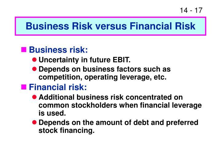 Business Risk versus Financial Risk