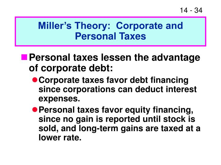 Miller's Theory:  Corporate and