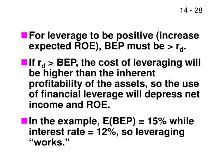 For leverage to be positive (increase expected ROE), BEP must be > r