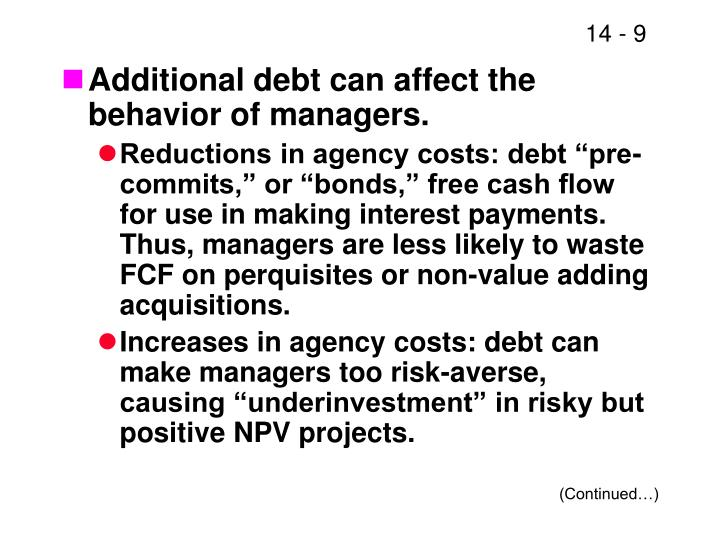 Additional debt can affect the behavior of managers.