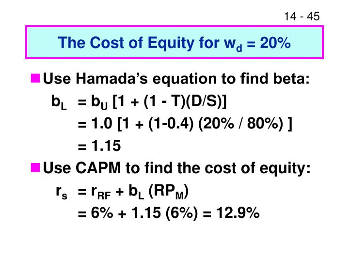The Cost of Equity for w