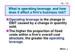 what is operating leverage and how does it affect a firm s business risk