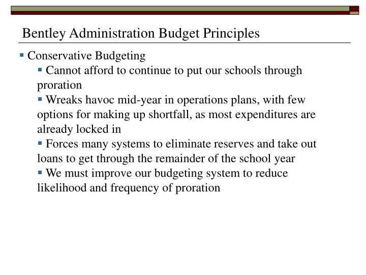 Bentley Administration Budget Principles