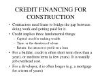 credit financing for construction