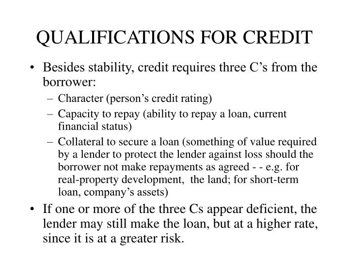 QUALIFICATIONS FOR CREDIT