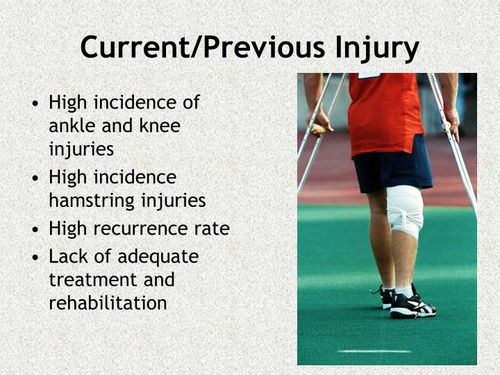 High incidence of ankle and knee injuries