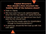 capital structure how should a firm structure the liability side of the balance sheet