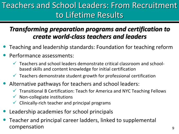 Teachers and School Leaders: From Recruitment to Lifetime Results