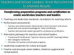 teachers and school leaders from recruitment to lifetime results