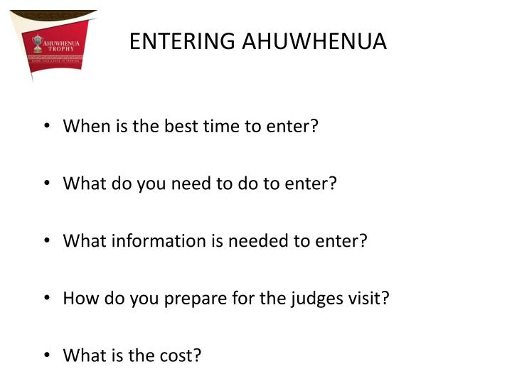 When is the best time to enter?