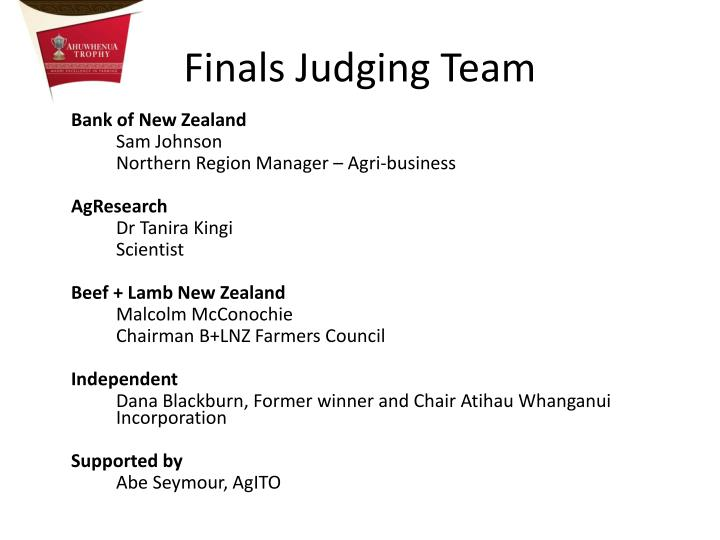 Finals Judging Team