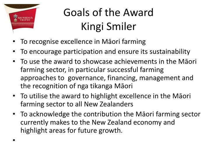 Goals of the Award