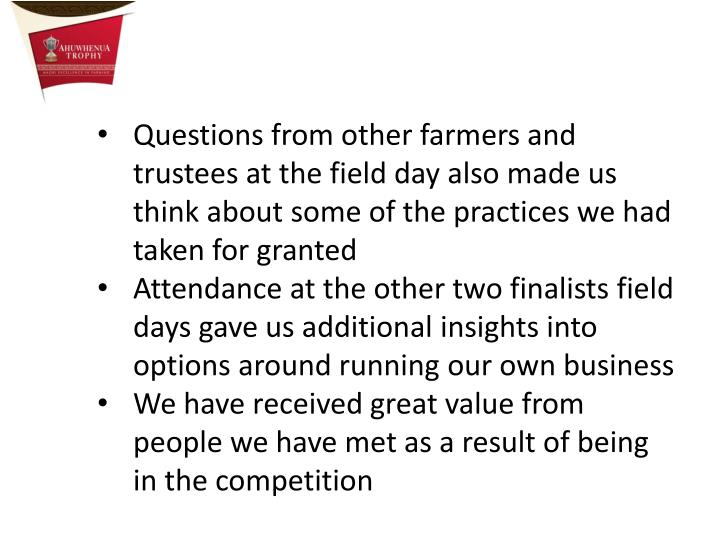 Questions from other farmers and trustees at the field day also made us think about some of the practices we had taken for granted