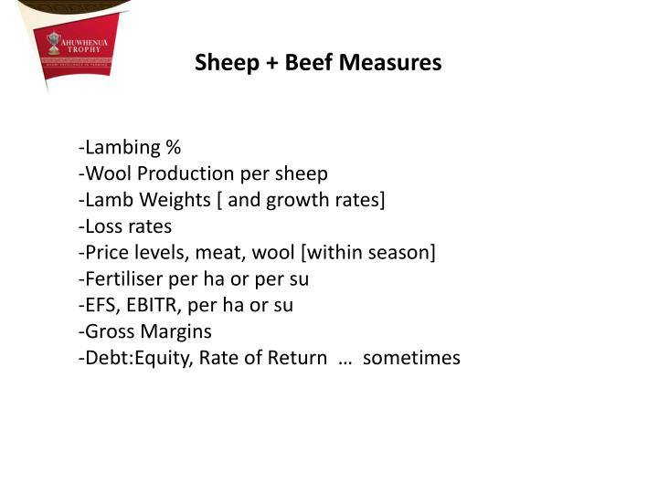 Sheep + Beef Measures