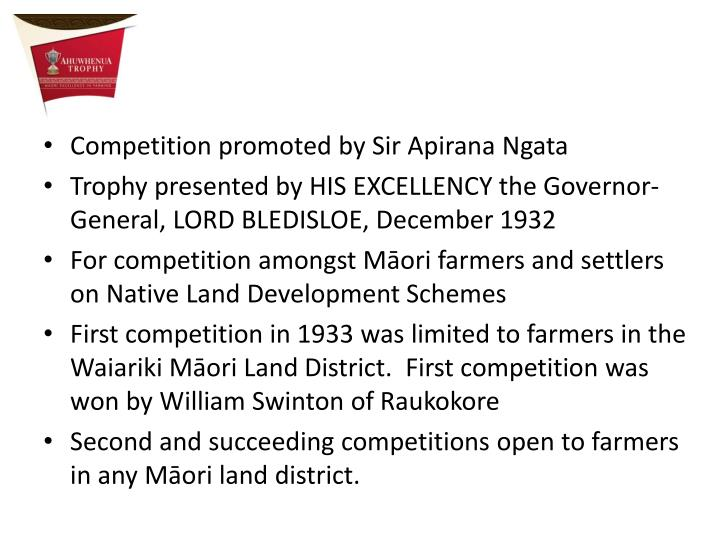 Competition promoted by Sir Apirana Ngata