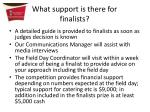 what support is there for finalists