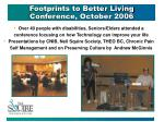 footprints to better living conference october 2006